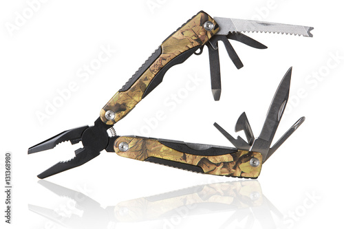 Foto  multipurpose tool for the tourist and the hunter on a white background