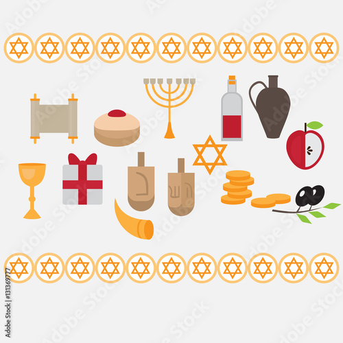 Jewish holiday hanukkah design elements with traditional donuts jewish holiday hanukkah design elements with traditional donuts holiday candlestick menora and scroll horn m4hsunfo