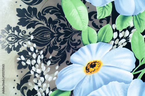 Poster Abstract bloemen Texture, background. cotton cloth. Color blue on a black backgro