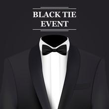 Black Tie Event Invitation Card, Vector Background