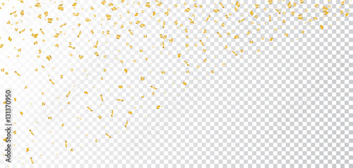Fototapeta Gold bright confetti on white transparent Christmas background. Golden decoration glitter abstract design of Happy New Year card, greeting, Xmas holiday celebrate banner. Vector illustration obraz na płótnie