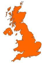 Map Of UK In Orange