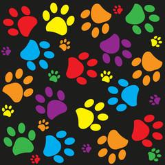 Fototapeta na wymiar Colorful Paw print pattern