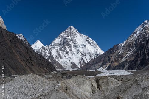 K2 mountain peak behind Baltoro glacier, Skardu, Gilgit, Pakista