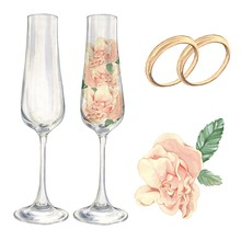 The Champagne Glasses With Roses. Bridal Set Rings. For Festive Decoration Cards, Cards, Posters. Watercolor Painting. Handmade Drawing. Isolated On White