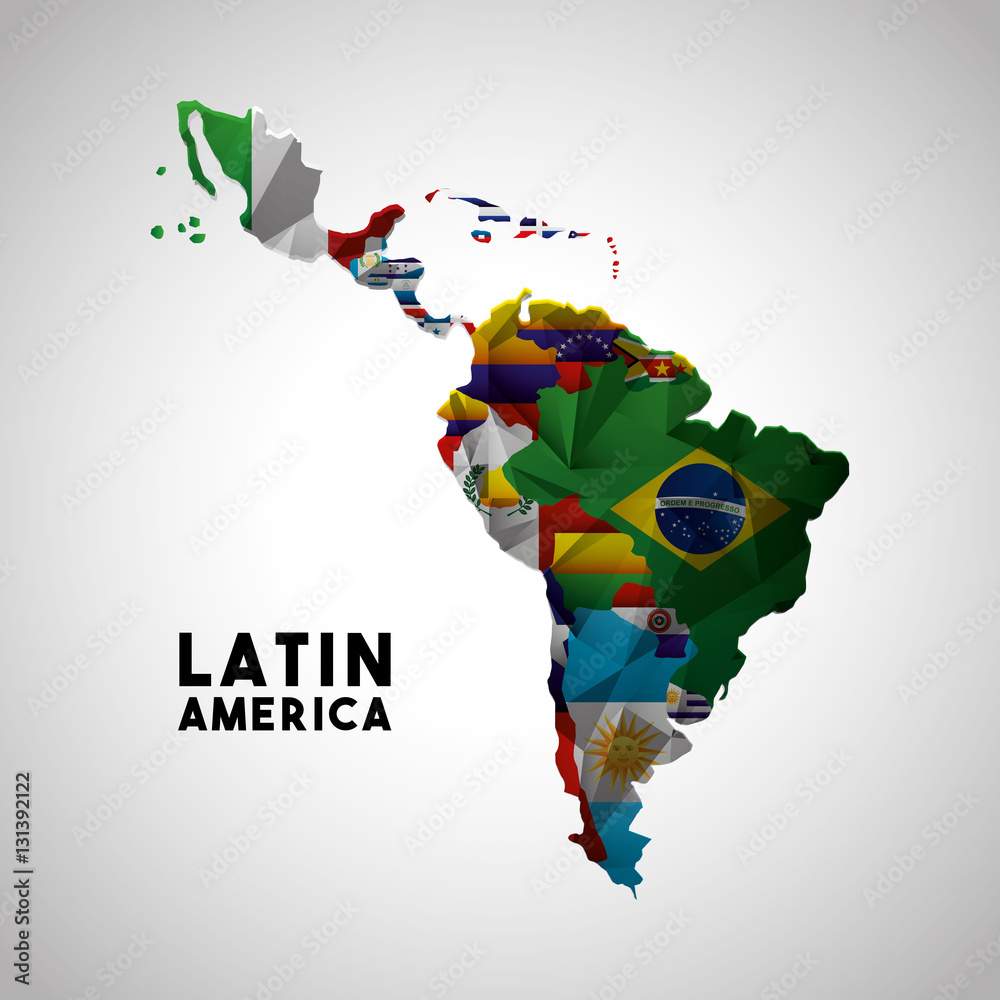 Fototapety, obrazy: Map of Latin America with the flags of countries. colorful design. vector illustration