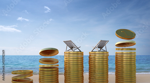 Coins on beach in travel budget and tourism business concept - 3d rendering Canvas Print