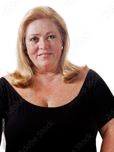 Fotografie, Obraz  Woman nearing 60 with hair dried and simple makeup