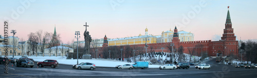 Foto op Canvas Monument Panoramic view of Borovitskaya Square, monument to Prince Vladimir