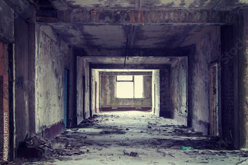 Fotografie, Obraz  Inside abandoned building, lighting window