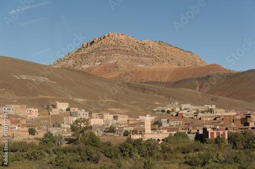 Poster Maroc Montaña en el desierto de Marruecos