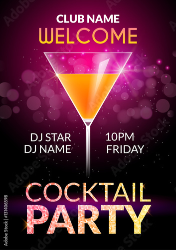 Fototapeta Cocktail Invitation Design Poster Cocktail Party Drink Banner Card Or Flyer Template Vector