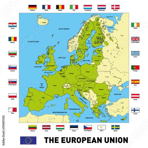 Plakat Wektorowa mapa Unii Europejskiej