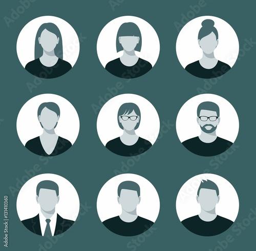Fotografía  Avatar profile icon set including male and female.