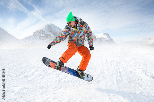 Garden Poster Winter sports Snowboard Jumping in high mountains