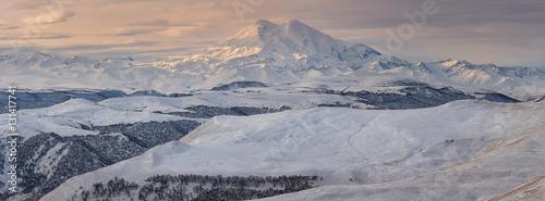 Foto op Canvas Herfst Russia, the Caucasus Mountains, Kabardino-Balkaria. Mount Elbrus