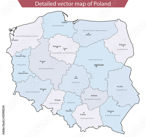 Fotografía  Detailed vector map of Poland v2