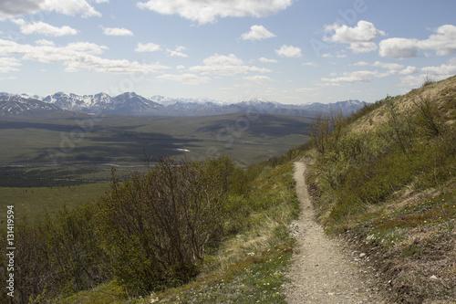 Hiking trail on a hillside overlooking a mountain vista