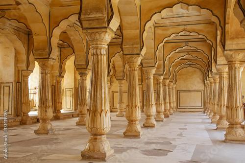 Fototapety, obrazy: Sattais Katcheri Hall in Amber Fort near Jaipur, Rajasthan, Indi