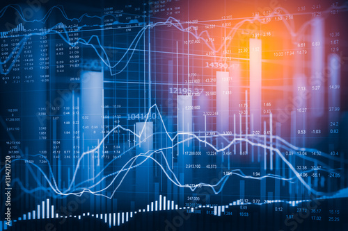 Stock market indicator and financial data view from LED. Double Canvas Print