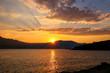 Sunrise over Peljesac Peninsula and Peljeski Strait, Korcula, Cr