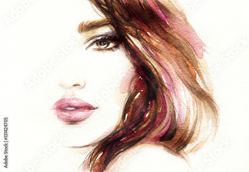 Wall Murals Watercolor Face Beautiful woman face. Fashion watercolor illustration. Beauty background