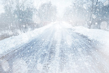 Countryside Road During Snow S...