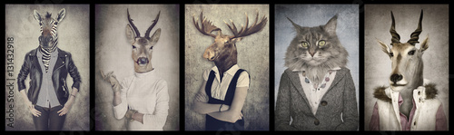 Recess Fitting Deer Animals in clothes. Concept graphic in vintage style. Zebra, dee