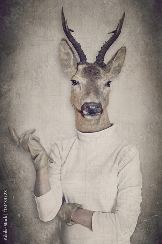 Garden Poster Hipster Animals Deer in clothes. Concept graphic in vintage style.