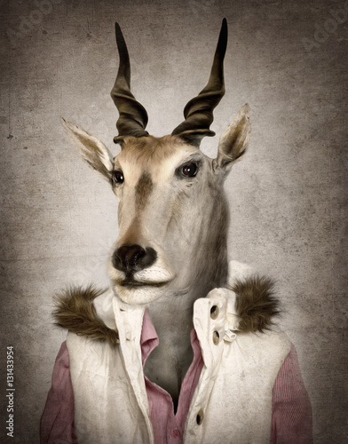 Goat in clothes. Digital illustration in soft oil painting style
