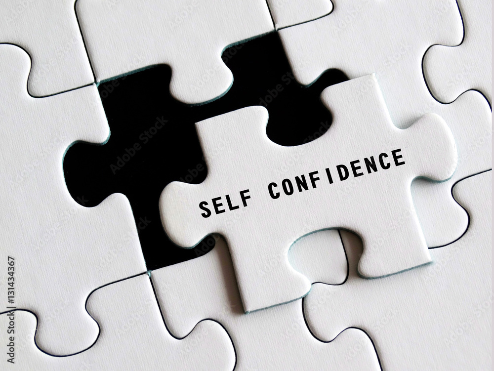 Photo & Art Print Self - Confidence text on missing puzzle ...