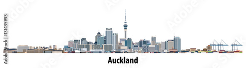 abstract vector skyline of Auckland Canvas Print