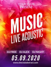 Live Music Acoustic Poster Design Temple. Live Show Modern Party Dj Invitation Flyer