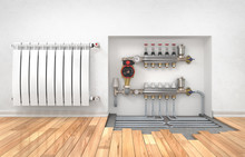 Heating Concept. Underfloor Heating With Collector In The Room.