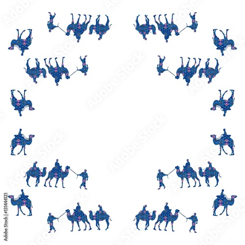 Fotografija  Caravan. Bandana print with camels on white background.
