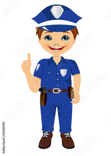 Foto op Aluminium Pixel smiling little boy wearing police uniform giving thumbs up