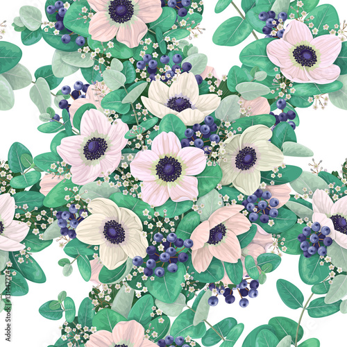 Cotton fabric Seamless pattern with anemone flowers.