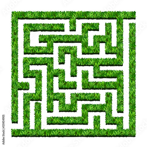 Foto op Plexiglas Groene Maze of green bushes, labyrinth garden. Vector illustration. Iso