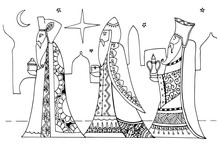 Vector Illustration Zentagl, The Magi Are Gifts To Baby Jesus. Christmas. Doodle Drawing. Meditative Exercises. Coloring Book Anti Stress For Adults And Children. Black And White.
