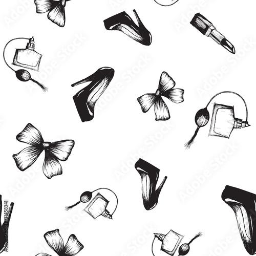 Cotton fabric seamless pattern shoe bow perfume