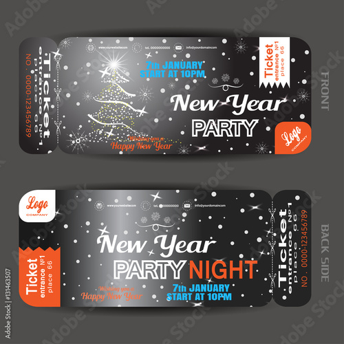 vector new year night party ticket on the dark gray gradient background with christmas tree