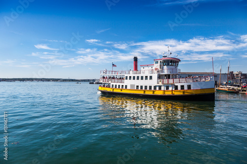Closeup of ferry leaving Portland, Maine, heading into Casco Bay Wallpaper Mural