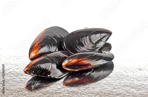 Fotografia, Obraz  Fresh mussels on reflective surface
