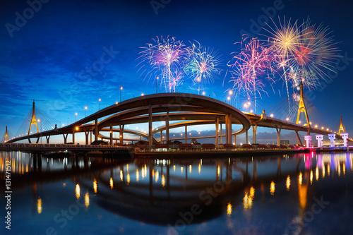 Foto op Aluminium Toronto Bhumibol bridge at night with fireworks, Bangkok Thailand