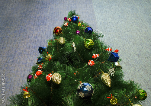 Beautiful Decorated Christmas Tree Or New Year Tree With Baubles And