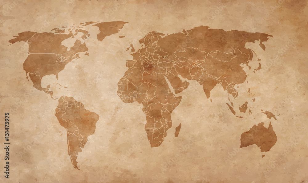 Fototapety, obrazy: world map on an old piece of paper