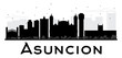 Asuncion City skyline black and white silhouette.