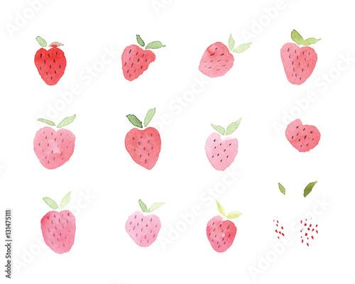 Valokuva  Abstract watercolor hand drawn beautiful strawberry