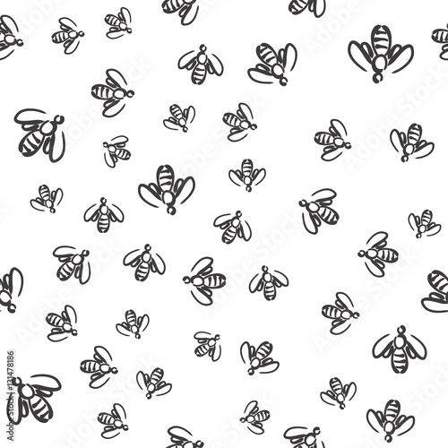 Cotton fabric seamless bee pattern