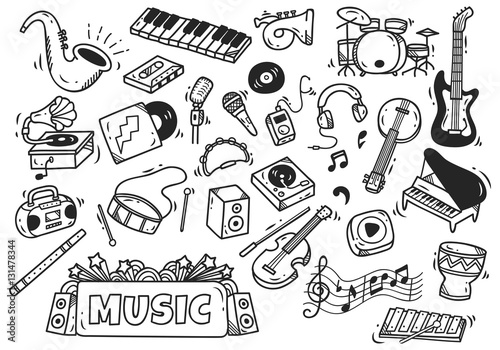 Fotografia  set of music instrument in doodle style
